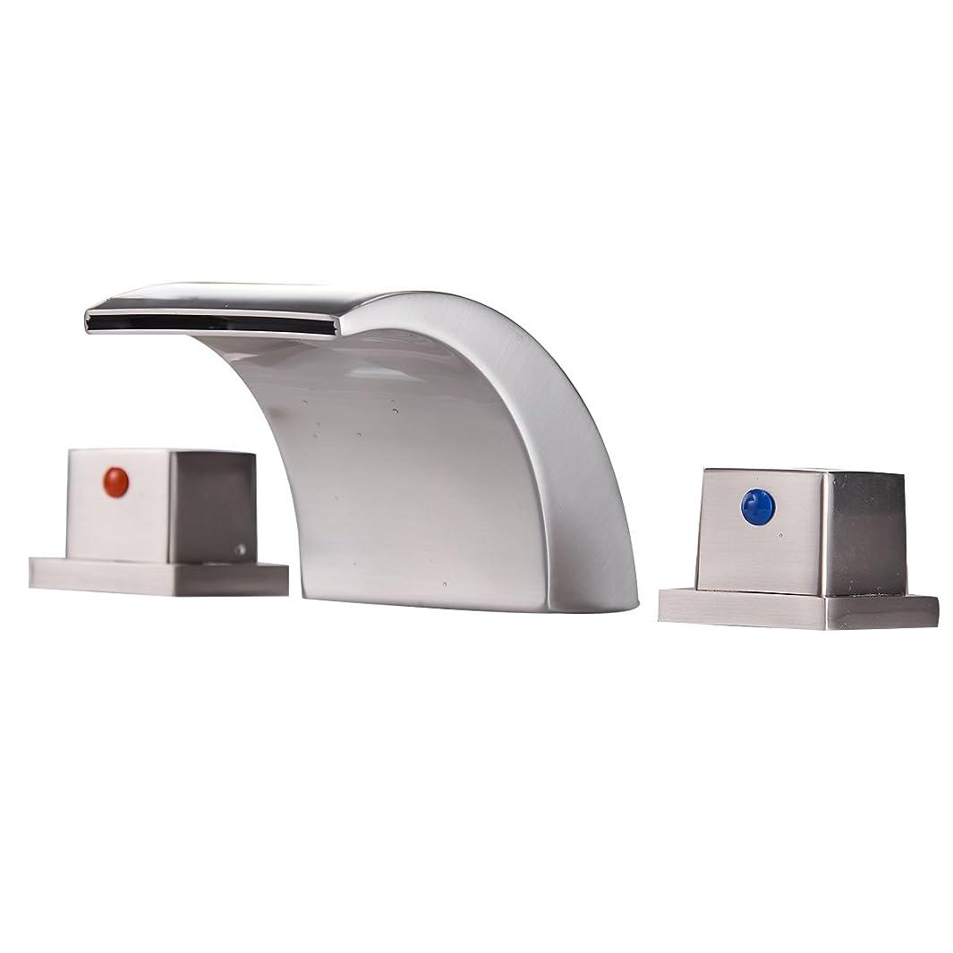 Greenspring Commercial Dual Handles Led Waterfall Widespread Deck Mount Bathroom Sink Faucet,Brushed Nickel