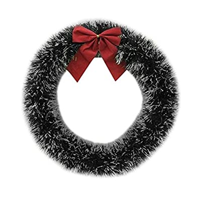 35cm Christmas Large Wreath Door Wall Ornament Garland Decoration Red Bowknot