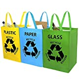 Albert Austin Recycling Bins for Kitchen and Home - Set of 3 Colour Coded Bin Bags, Indoor Recycling Bins, Blue Green and Yellow Recycling Bags for Paper, Glass and Plastic