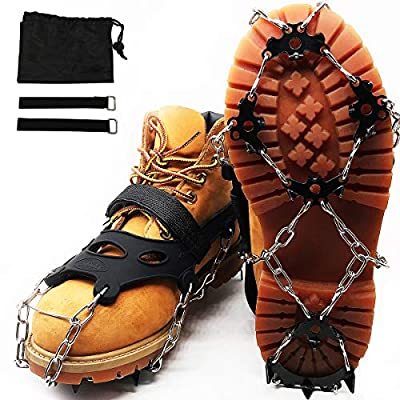 MOTYYA Traction Cleats Ice Snow Grips Anti-Slip Stainless Steel 18 Spikes Footwear Crampons Non-Slip chains for boots ice Claws Climbing Shoes Cover for Walking,Hiking with Portable Bag(General Model)