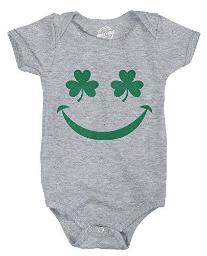 Crazy Dog Tshirts - Creeper Shamrock Smiley St. Patricks Day Clover Bodysuit for Newborn Baby -3-6m - Baby-Enfant