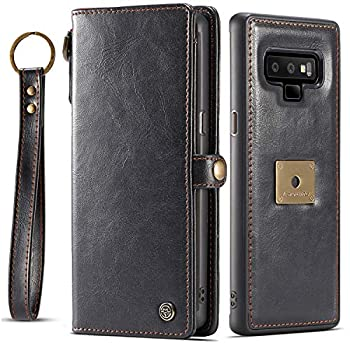 Galaxy Note 9 Case Samsung Note 9 Case XRPow Detachable Magnetic Leather Wallet Folio Flip Card Slots Removable Slim Cover for Samsung Galaxy Note 9 with Wrist Strap Black