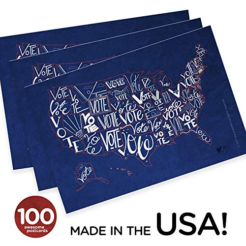 """""""Vote USA"""" postcards, pack of 100. Postcards with a map of the United States, perfect for writing politicians or get-out-the-vote campaigns (100)"""