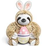 Light Autumn Easter Bunny Stuffed Animal - Stuffed Sloth Bunnies for Easter - Fluffy Stuffed Easter Bunny Sloth Holding Easter Egg