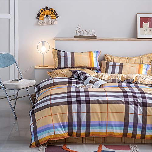 Surwin Duvet Cover Set Non-Iron Bedding 4 piece Modern Style Comfort Single Double King Size Microfiber Zipper Closure Quilt Cover 1 Flat Sheet 2 Pillowcases (Rainbow,200x230cm)
