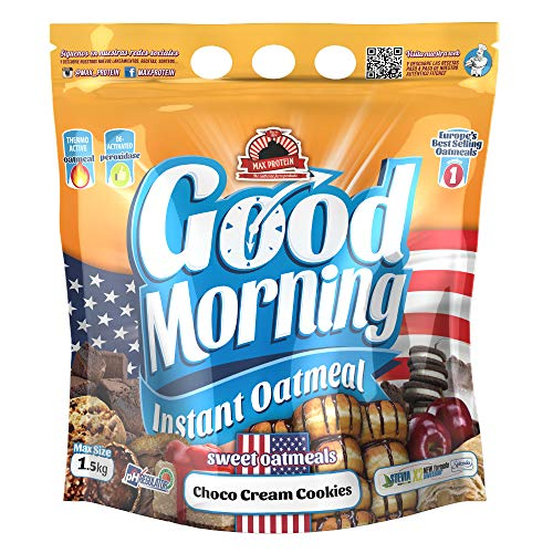 Max Protein - Good Morning Instant Oatmeal, Harina de avena, 1,5kg Choco Cream Cookies (Pack 2 ud.)
