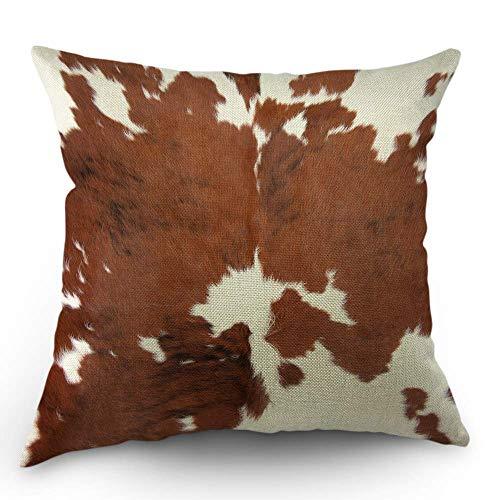 Kuhfell Kissen dekorative Throw Pillow Cover Fall Farm Animal Brown Kuhfell Print Kuh Kissenbezug 18 x 18 Zoll Baumwolle Leinen Platz Kissenbezug für Sofa Schlafzimmer