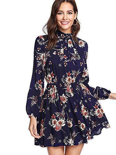 DIDK Damen Kleid Elegant Langarm Blumen Kleider Kurz Knielang Partykleid Casual Dark Blue M