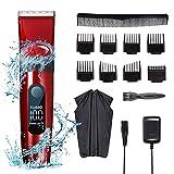 Deaunbr Cortapelos todo en uno para hombres, resistente al agua, afeitadora de cabeza inalámbrica profesional con pantalla LED, recortadora recargable de por vida, kits de corte de cabello 9 en 1