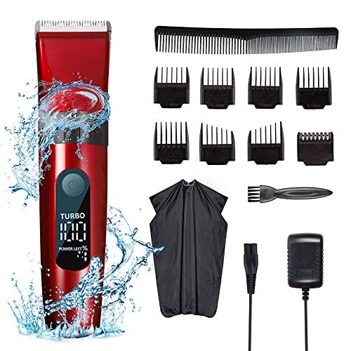 Deaunbr Haarschneidemaschine für Männer, Profi Haarschneider mit LED-Display, Langhaarschneider Wasserdicht,Haartrimmer,9-in-1-Pflege-Haarschneide-Sets