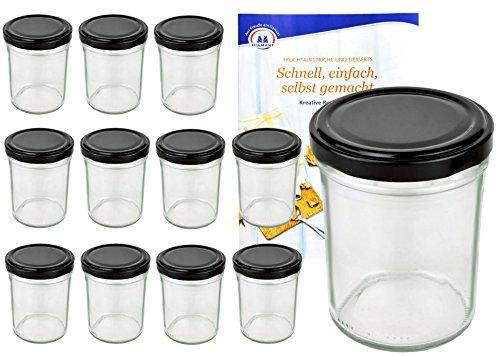 MamboCat 12er Set Sturzgläser 230 ml Hoch Deckelfarbe schwarz to 66 inkl. Diamant Gelierzauber Rezeptheft, Marmeladengläser, Einmachgläser, Einweckgläser, Gläser