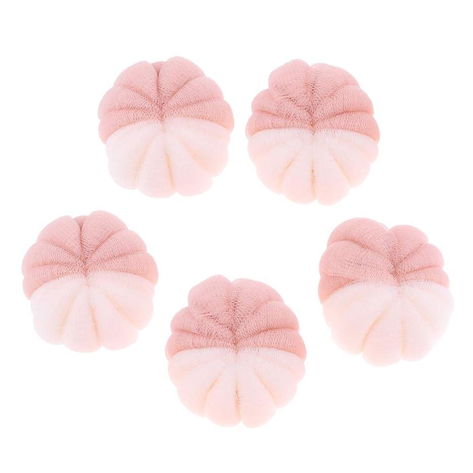 コンセンサス私たちのオンHellery 5ピース女性男性大浴場シャワースポンジ剥離パフスクラバーメッシュボール - ピンク