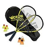 Vicfun Speed-Badminton 100 Set Junior Premium, Unisex-Adulti, Giallo-Nero, Keine