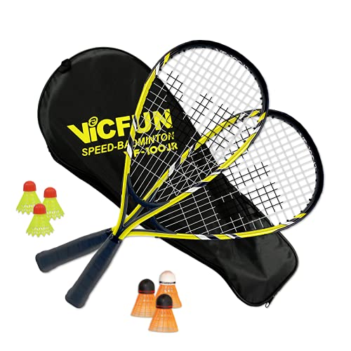 Vicfun Speed-Badminton 100 Set Junior Premium, Unisex Adulto, Amarillo/Negro, Keine