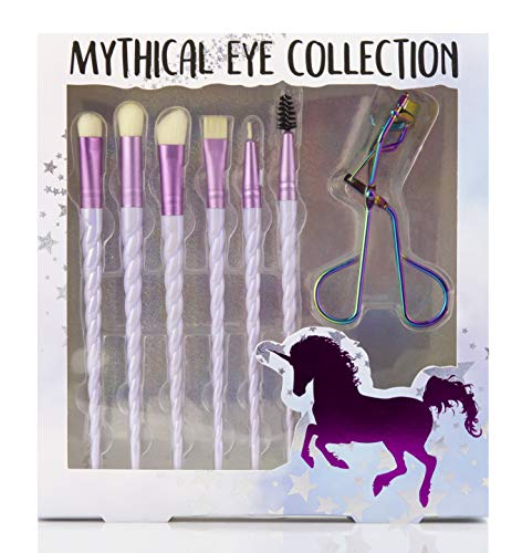 Beauty Concepts Mythical Eye Collection Professional, Colorful Unicorn Blending Cosmetic Eye Makeup Brush Set for Powder and Liquid Eye Liner, Shadow and Mascara - 7 Pc Set
