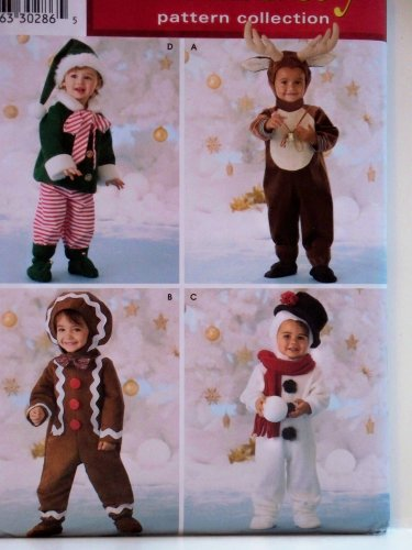 Simplicity Holiday Pattern Collection Pattern 3916. Toddler Sz 1/2;1;2;3;4 Elf; Reindeer; Gingerbread Man; Snowman Costumes