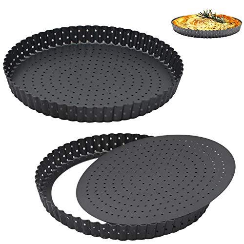 KNSAM Backformen Set 2 teilig,Quicheform 20 cm/24 cm Wellenrand Kuchenform Antihaft Tarteform mit Hebeboden Perforiertes Backblech Obstbodenform