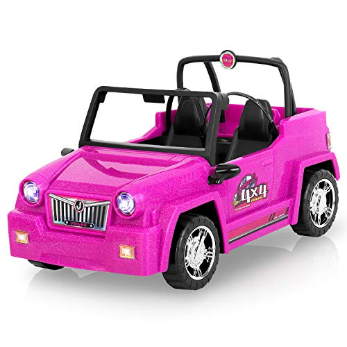 AOKESI Jeep Vehicle Doll Accessories Glittering Magenta Convertible Car for Dolls, Off-Road Vehicle with Working Seat Belts Great Dolls Car for Girls