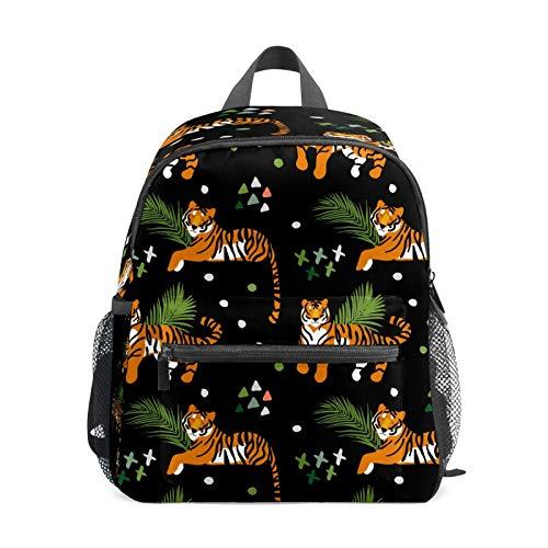 Mochila infantil para niños de 1 a 6 años de edad, mochila perfecta para niños a tigres de jardín de infantes con hojas de palma tropicales con triángulos doblados, color negro