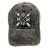 LOKIDVE Mom Life Arrow Baseball Cap Embroidered Distressed Denim Dad Hat for Women