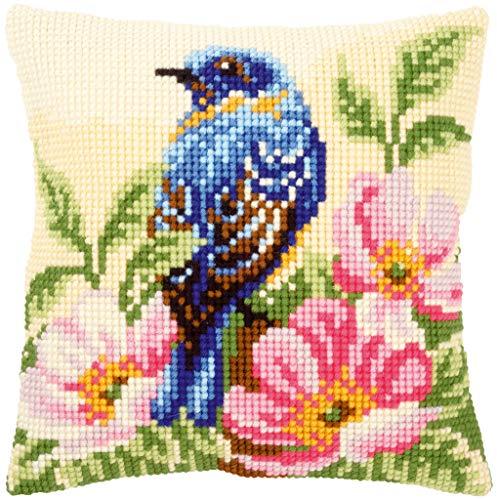 Vervaco Vogel auf Wilder Rose Kreuzstichkissen/Stickkissen vorgedruckt, Baumwolle, Mehrfarbig, 40 x 40 x 0.3 cm