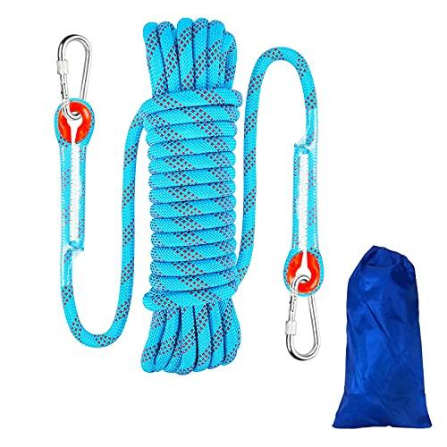 10 Meters 8mm Kletterseil Sicherheitsseil Survival Seil, Climbing, Rope, Outdoor Seil Rettungsseil Feuerrettungs-Fallschirm-Seil für Wanderung Bergsteigen Outdoor Sport Camping (10m, Blau, 8mm)