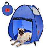 MyDeal Pop Up Pet House in a Bag for Portable Play Pen or Kennel Tent with 3 Net Windows and Zipper Door for Shade, Shelter and Safety Perfect for Dog, Cat, Rabbit + More!