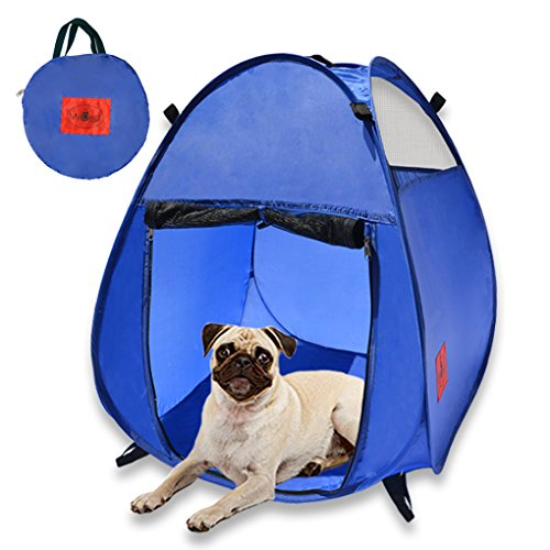 MYDEAL PRODUCTS Pop Up Pet House in a Bag for Portable Play Pen or Kennel Tent with 3 Net Windows and Zipper Door for Shade, Shelter and Safety Perfect for Dog, Cat, Rabbit + More!