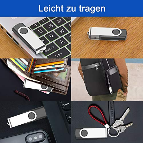 USB Stick kacai 8GB 5 Stück Speichersticks USB Sticks 360 ° Drehun Memory Stick, High Speed USB 2.0 Flash Drive Pack,Mit Schlüsselband, Geeignet für Laptop / PC(5PCS*8GB/Schwarz/Schlüsselband)