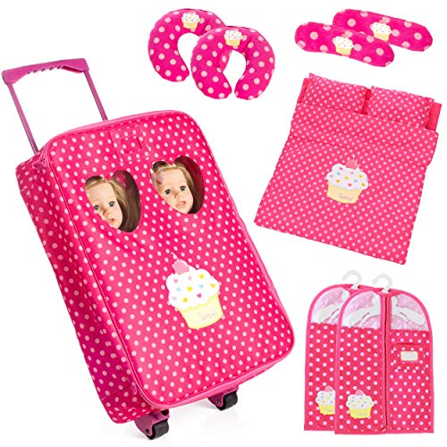 """Beverly Hills Doll Collection 7 Piece Twin Doll Traveling Trolley Set fits 2 18"""" American Girl Dolls Includes Twin Sleeping Bags and AccessoriesDoll Not Included"""
