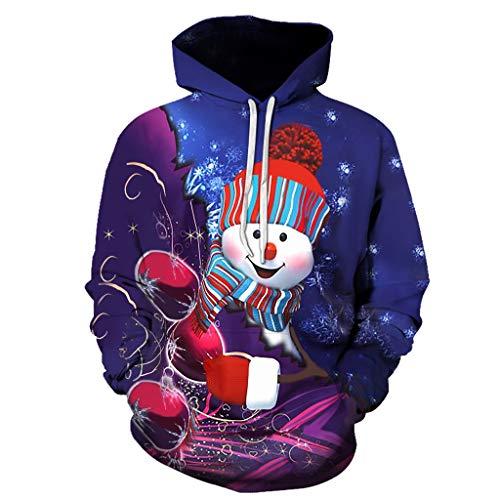 Best Buy! Unisex 3D Printed Pullover Sweatshirts Christmas Snowman Long Sleeve Drawstring Hoodies wi...