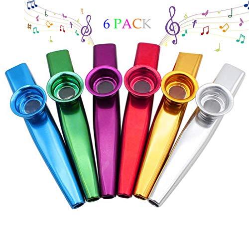Kazoo Set aus 6 hochwertigen Metall Kazoo Musikinstrumenten, Kazoos Mundharmonika Gitarre