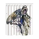 KOTOM Wasserfarben-Duschvorhänge mit Tiermotiv, ein Tapir, schimmelresistent, wasserdichtes...