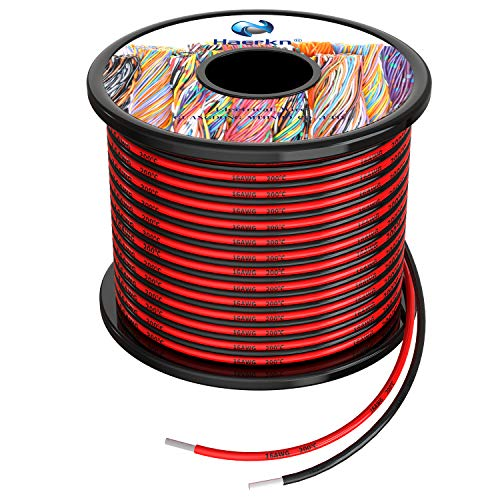 1.3 mm² Cable eléctrico de silicona de 20Metros [negro 10M rojo 10M] 16awg de cables de conexión Cable de cobre estañado trenzado sin...