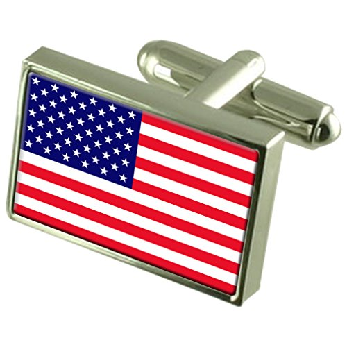 United States Sterling Silver Flag Cufflinks