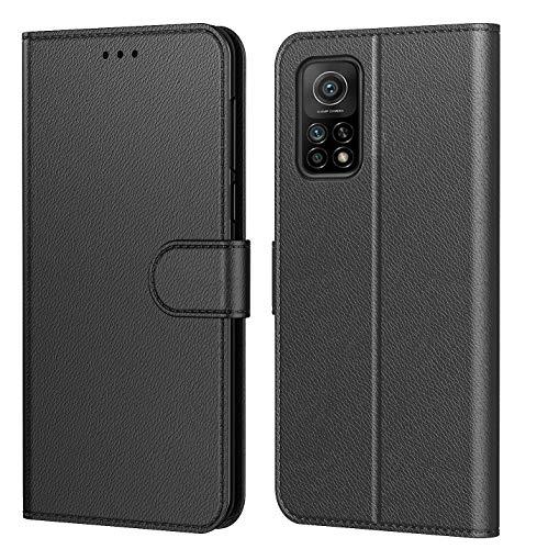 Tenphone Schutzhülle Mi 10T 5G, Schutzhülle Mi 10T Pro 5G, Schutzhülle Premium aus PU-Leder, Magnetverschluss, mehrere Farben kompatibel mit Xiaomi Mi 10T / Mi 10T Pro 5G, Book schwarz