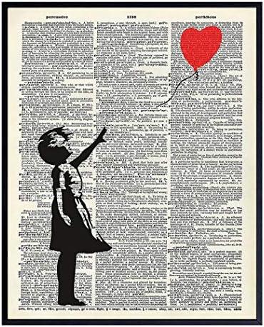Banksy Wall Art Upcycled Dictionary Graffiti Art Print Girl With Balloon 8x10 Street Art Poster product image