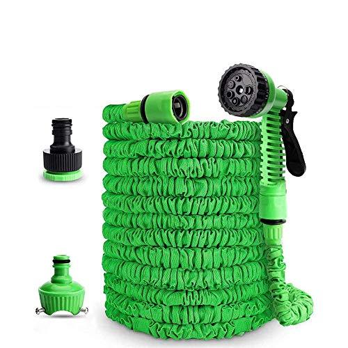 Flexibler Gartenschlauch 45m Flexibe Wasserschlauch Dehnbar Knickfest mit 7-Funktions-Handbrause Adapter 1/2 Zoll & 3/4 Zoll für Rasenbewässerung Haustierreinigung Autowäsche-45m