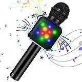 KIDWILL Micrófono de Karaoke Inalámbrico con Bluetooth para Niños y Adultos 5 en 1 Micrófono de Karaoke de Mano con Luces LED, Micrófono...