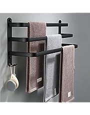 SDYBGRF Handdoekhouder zwart met haken, muur badkamer handdoekhouder, handdoekstangen voor badkamer keuken, zelfklevende lijm aluminium, handdoekstang deur bad60 m