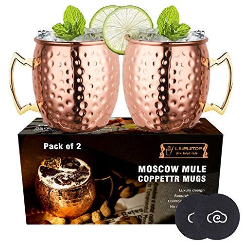 LIVEHITOP Moscow Mule Kupfer Becher Set of 2,18 Oz Kupferbecher mit Untersetzer for Cocktail, Wein, Kaltes Getränk, Bar, Party, Geschenke (Pack of 2)