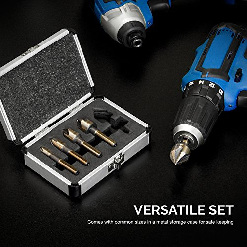 """Neiko 10218A Countersink Drill Bit Set, M2 High Speed Steel, 1/4"""" Tri-Flat Shank 