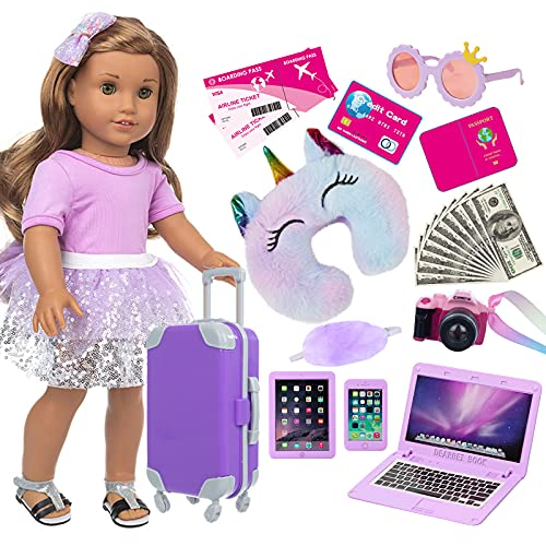 ZNTWEI American 18 Inch Girl Doll Travel Suitcase Play Set with 18 Inch Doll Clothes and Accessories Including Sunglasses Camera Computer Phone Ipad Travel Pillow ect