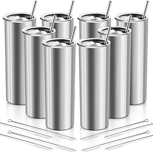 XccMe 20 oz Skinny Tumblers with Straws, 8 Pack Stainless Steel Double Wall Insulated Cups with Lids Travel Mug, for Men and Women, Beverages,coffe (Silver)