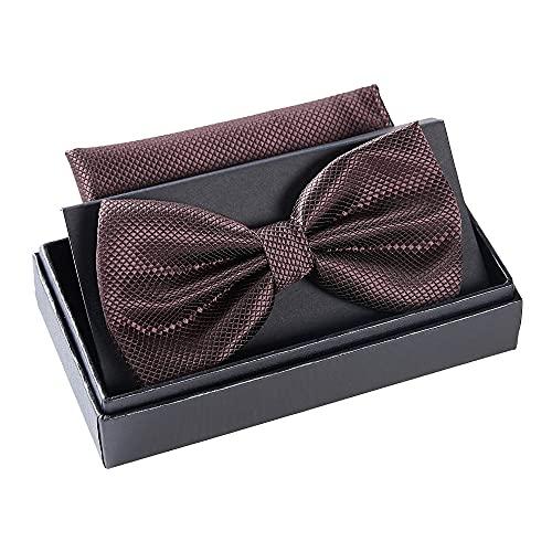 Massi Morino ® Nœud Papillon (régable) Mouche Hommes pré-liées avec Mouchoir y Compris boîte Cadeau (Marron)