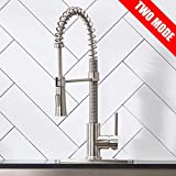 KINGO HOME Lead Free Stainless Steel Single Lever Handle Pull Down Sprayer Brushed Nickel Kitchen Faucet, Kitchen Sink Faucet with Deck Plate