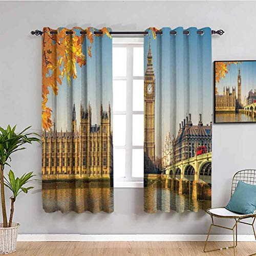 London Decor Collection Blackout Curtain Liner Historical Big Ben and Westminster Bridge with Bus View Behind Autumn Leaves Picture Easy to Clean W55 x L39 Inch Yellow Red Blue