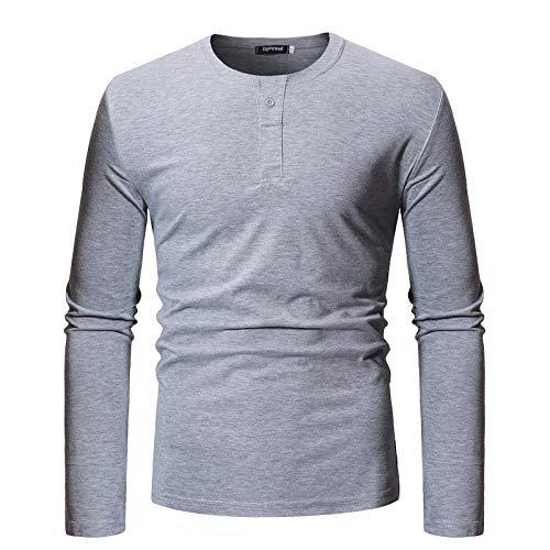 Langarm T-Shirt Herren Top Loose Bottomed Shirt Gr. M, grau