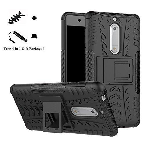 LiuShan Nokia 5 Hülle, Dual Layer Hybrid Handyhülle Drop Resistance Handys Schutz Hülle mit Ständer für Nokia 5 Smartphone (mit 4in1 Geschenk verpackt),Schwarz