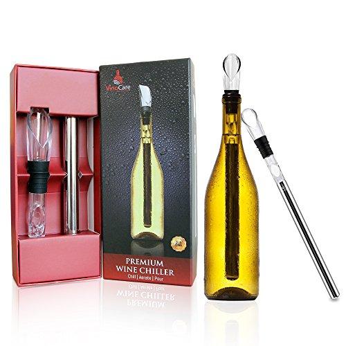 VINOCARE  Refrigeratore per vino, Bastoncino Raffredda Bottiglia attiva e Decanter Aeratore con Beccuccio Antigoccia e un Pacco Regalo incluso